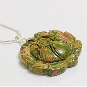 Hand-Carved Unakite Flower Pendant Necklace